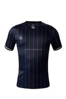 Men Blue Black Classics Stripe t shirt Soccer Football Tops Running Gym Bodybuilding Compression T Shirt Fitness T shirt
