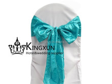 Turquoise Color Pintuck Chair Sash Used On Chair Cover