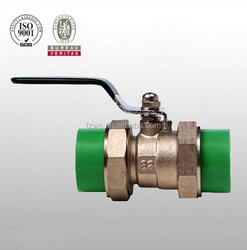 """""""HJ"""" ppr plastic pipe fitting 20-63 brass ball valve with double union"""
