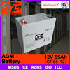 Top Brand price agm 12v 55ah battery for solar home system