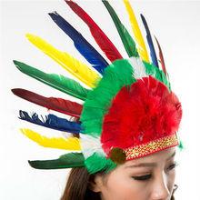2015 venta al por mayor colorido de plumas de pollo de plumas indio tocado para carnaval