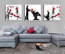 Wall painting pictures of hairdresser shop/Hair salon pictures for wall hanging/Inkjet printing pictures of barber shop