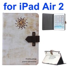 Sun Pattern Retro Style Foldable Flip Leather Smart Case for iPad Air 2