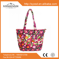 IR117 F1A Quilted cotton fabric tote bag/shopping bag/ foral tote bag