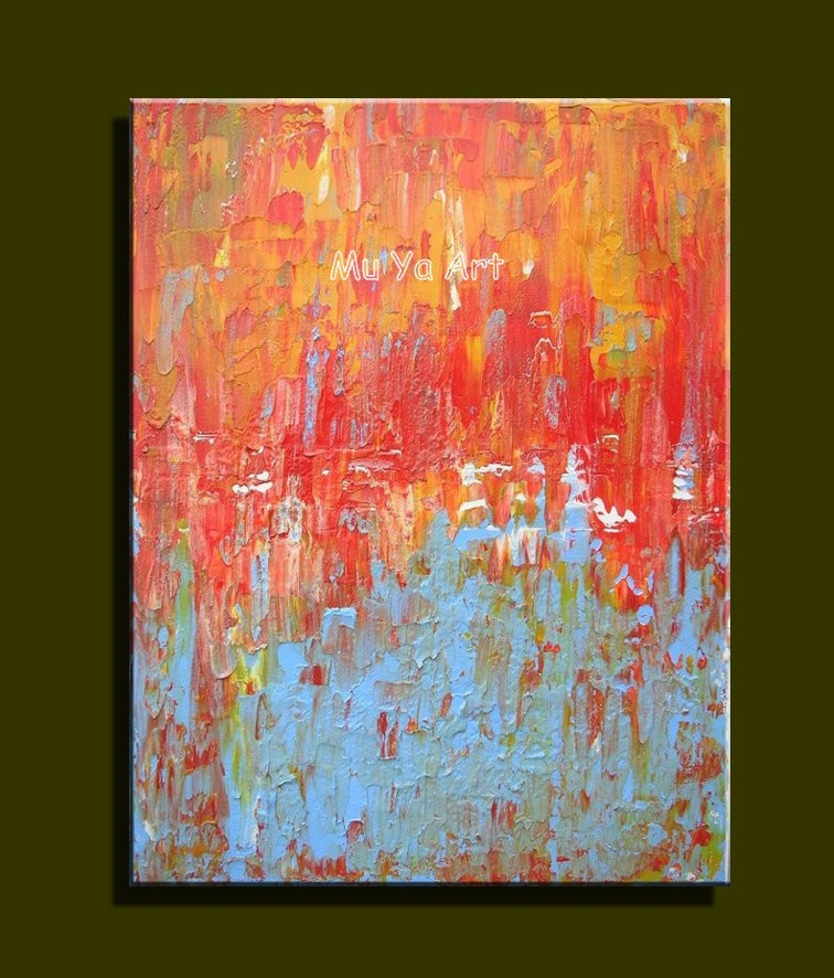 Buy Huge Abstract modern canvas wall hand famous red textured Knife oil painting on canvas for Living room wall bedroom decoration cheap