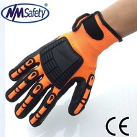 NMSAFETY 13gauge sandy nitrile palm with TPR on back mechanic impact gloves