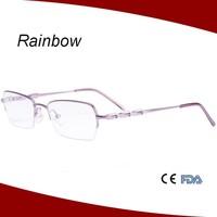 2015 new eyeglass frames half rim made in china eyeglasses without nose pads yewear optical frame MW15114