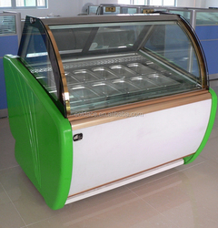 Well designed ice cream display freezer of curved glass