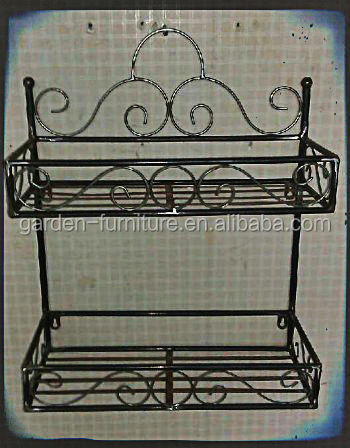Antique home decor double levels muti purpose organizer 2 - Wrought iron towel racks bathroom ...