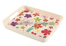 Biodegradable rectangular bamboo fiber food tray with handle