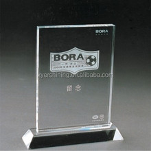 2015 Pujiang Shining blank glass crystal awards plaque for souvenir friendships