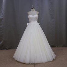 New design Ball gown with satin belt slim girls elegant strapless ruched wedding dress