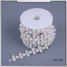 hot fix motif rhinestone trimming mesh chain pearl beads design