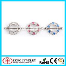 Round Nipple Shield with Gems Nipple Ring