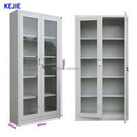 High-tech Double Door Knock Down Steel Filing Cabinet New Style Glass Door Cabinet