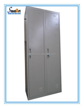 Double tier steel locker,two tier metal clothes locker with hanging rods