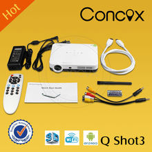 mini projector Android 3D projector Q shot3 with hingh lumens for home theater projector/ demo