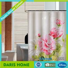 Quality floral printed shower curtain, bath shower windows curtain