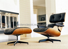 Imported cattle leather eames lounge chair with ottoman,various kind of colour leather to supply