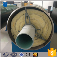 Construction materials rock wool insulation pipe with steel outer casing for high temperature liquid supply