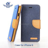 With Friendly Jean Material Wallet Card Slot Cell Phone Cover Case for iphone 6 6s