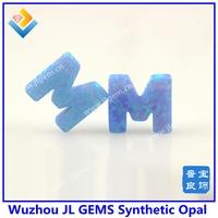 Wholesale 26 Letters Opal ,Synthetic light blue Letter K L M Opal Stone
