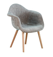 beech wood legs seat with plastic PP cover Fabric Leisure Chair