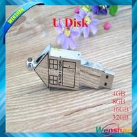 House Shape usb flash drive, Mini metal houses USB Pen drive, Promo house pen memory with keychain 4gb 8gb 16gb