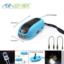 Combine Flashlight Mobile Phone Charger and FM Radio Built-in 1500mah Li-ion Battery Mechanically Powered Flashlight