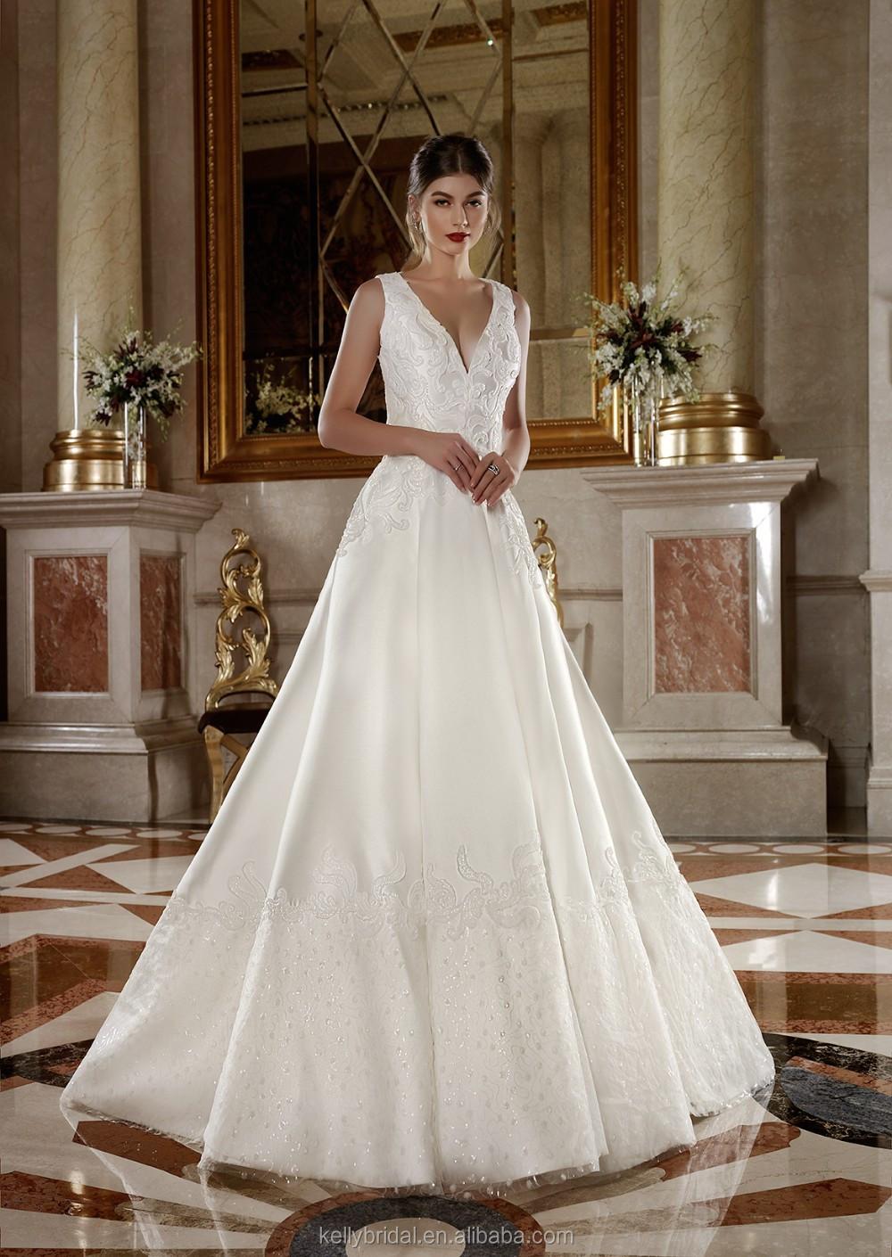 Zm16025 Ankle-length Oem Design Deep V-neck Wedding Dress Patterns ...