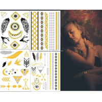 fashion gold flash temporary tattoos design supply ,new metallic temporary tattoo sticker wholesale for women