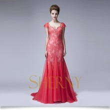 2015 New Hot short sleeve see through back evening Dress Red free prom dress wholesale