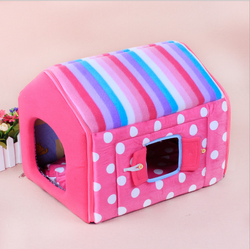 Stripe Flat Style Pet House In Winter Or Autumn