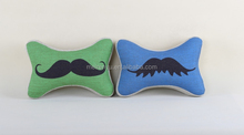 simple and popular cute bone shape mustache printed design linen home decorative chair sofa cushion neck rest car cushion pillow