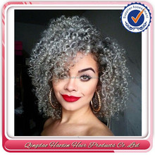 Qingdao factory ombre Tone color brazilian grey kinky curly full lace wig