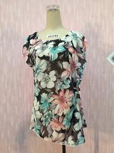 2015 hot sale flower fabric scoop neck sleeveless chiffon blouse lady top