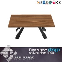 High gloss finishing black metal frame wooden dining table for sale