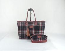 Women's bag for leisure use shopping evening new design bags tartan bag 100% cotton