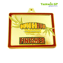 medal and trophy for race with soft enamel /troditional shape rectangle gold medal