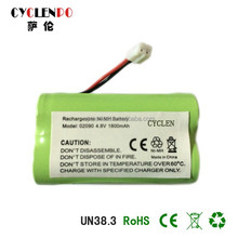 Factory price Nimh 1800mah 4.8V battery pack rechargeable battery for wireless phone