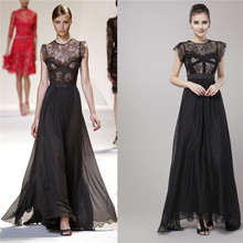 2015 Fashion Short Sleeve Floor Length Long Lace And Chiffon Maxi Evening Dress