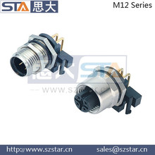Fixed screw 90 degree male and female M12 4p chassis connector for pcb