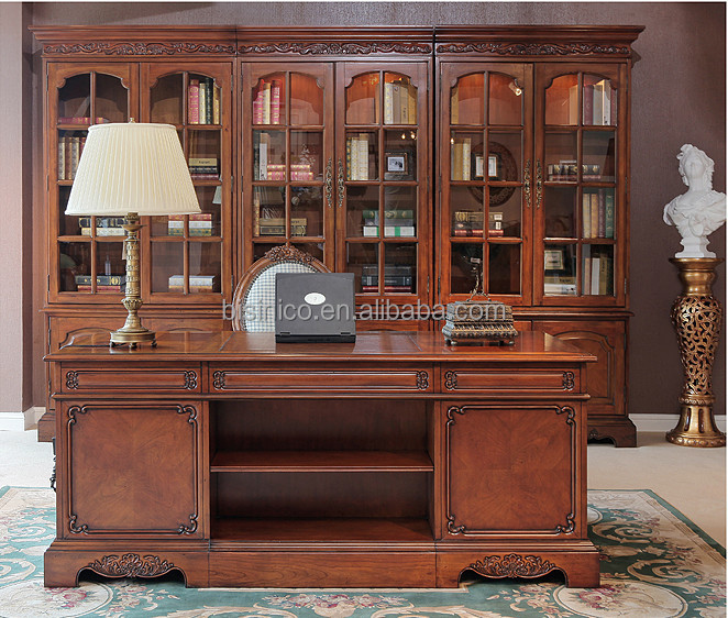 antique classic style office desk glass door bookcase