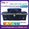 2.1 home theater speaker systems with USB SD FM bluetooth Remote wireless subwoofer