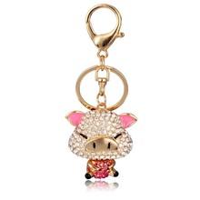 Promotion rhinestone animal keychain cute keychain for women gift pig keychain