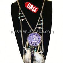 42quot Silver Chain Neck Set Dream Catcher Style w Purple Pend. SALE ITEM $ 2.50 per set