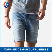 Denim blue men's short jean ripped men