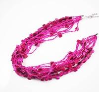 OU3055 ali express china,make up Imitation Accessory Multi Colored Beads Rhinestone Necklace Jewelry Set