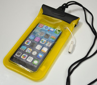 Clear Yellow Waterproof Bag Case Skin for iPhone 5 6 plus with Earphone Jack Output