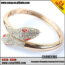Gold plated Headed style snake bangle